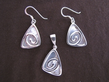 Silver Mother of Pearl Spiral Pendant