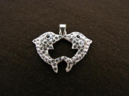 Silver Crystal Dolphin Pendant