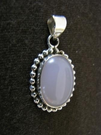 Oval Silver Rose Quartz Pendant