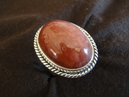 Silver Oval Golden Tan Agate Ring