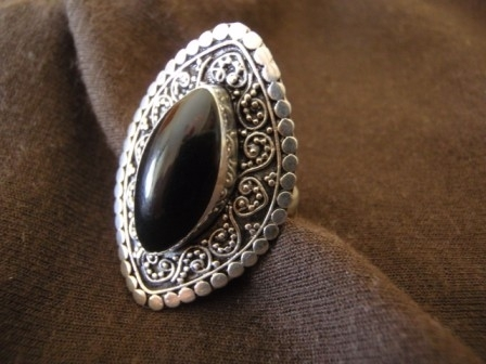 Silver Ellipse Black Resin Ring