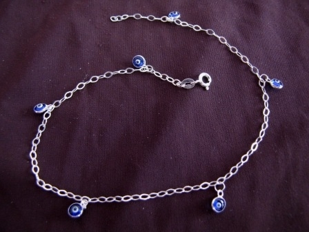 Silver Trace Chain Evil Eye Ankle Chain