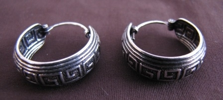 Silver Greek Key Hoop Earrings