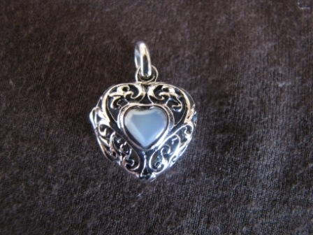 Silver White Heart Locket Pendant
