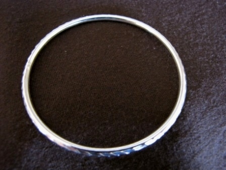 Silver Mirror Finish Slip On Bangle