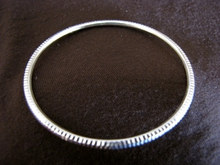 Silver Diamond Cut Slip On Bangle