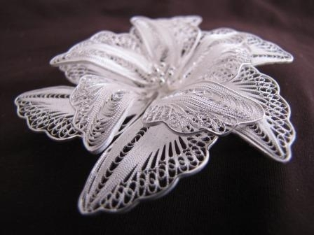 Large Silver Filigree Orchid Brooch