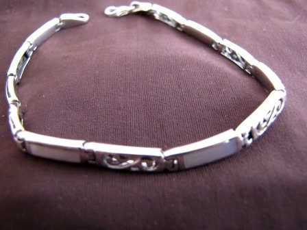 Silver Mother of Pearl Spirals Bracelet