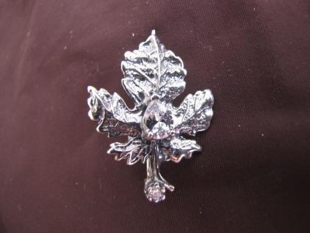 Silver Cubic Zirconia Maple Leaf Brooch