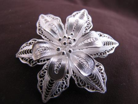 Small Silver Filigree Orchid Brooch