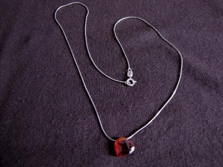 Silver Red Cubic Zirconia Heart Necklace