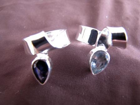 Silver Blue Topaz Twist Ring