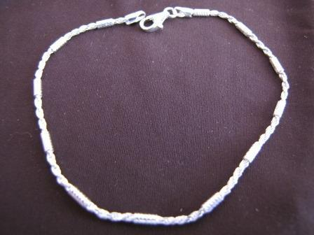 Silver Rope Chain and Bars Bracelet