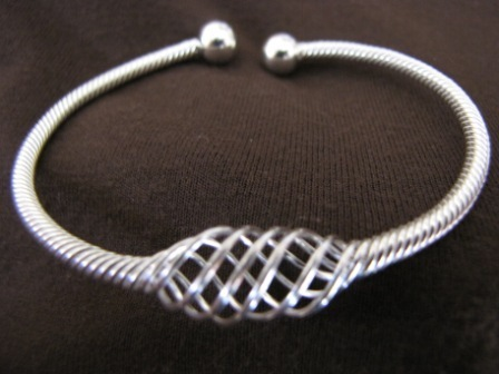 Silver Wire Twist Bangle