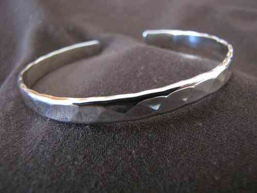 Hammered Silver Open Back Cuff Bangle