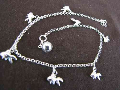 Silver Belcher Anklet with Carp Charms