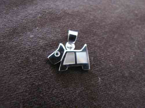 Silver White Scottie Dog Pendant