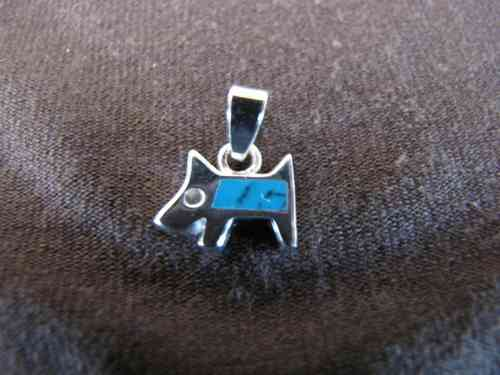 Silver Turquoise Scottie Dog Pendant