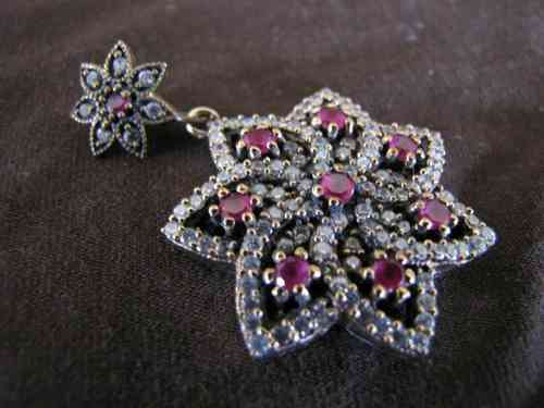 Silver, Gold Ruby Flower Pendant