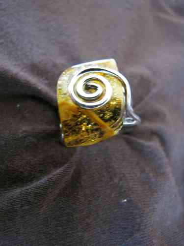 Silver Baltic Amber Spiral Ring