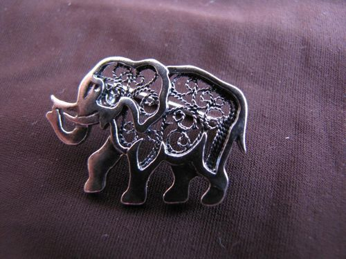 Silver Filigree Elephant Brooch