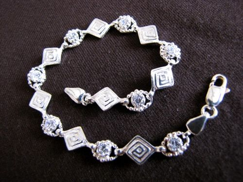 Silver Greek Key Cubic Zirconia Bracelet