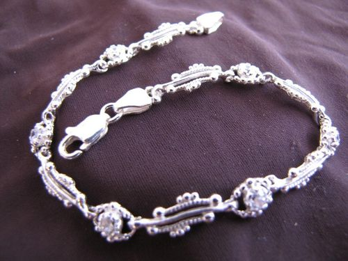 Silver Cubic Zirconia and Balls Bracelet