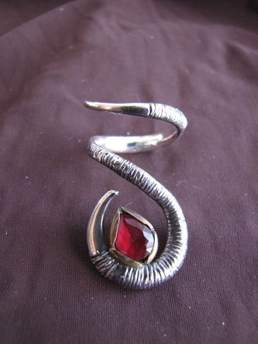 Silver and Gold Ruby Twist Ring