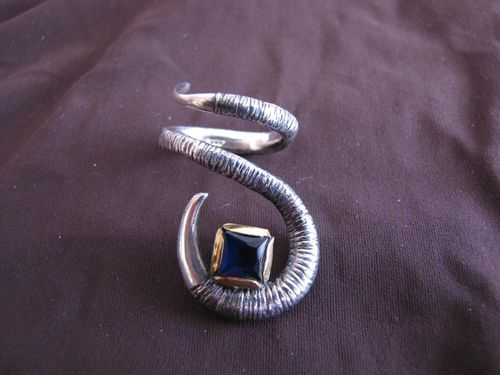 Silver and Gold Sapphire Twist Ring