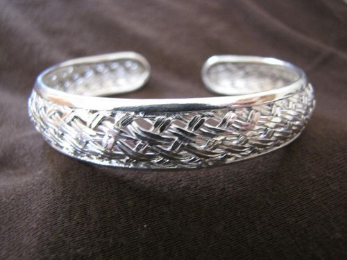 Silver Woven Open Back Cuff Bangle