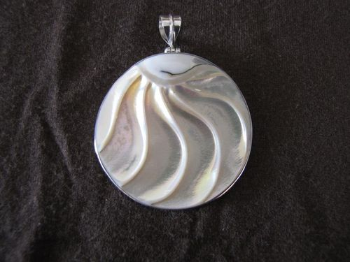 Silver Round Slice of Shell Pendant