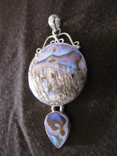 Silver Round and Teardrop Paua Pendant