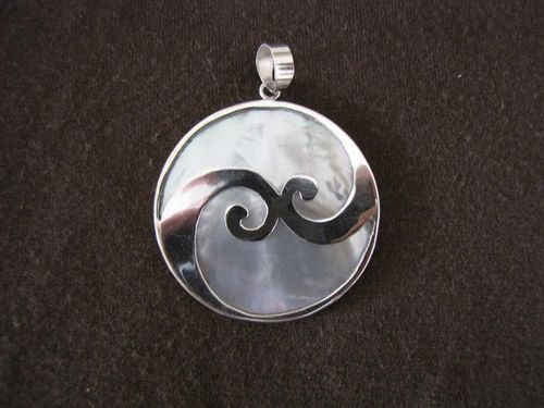Silver Mother of Pearl Waves Pendant