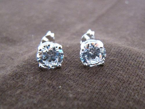 Silver Round Cubic Zirconia Earrings