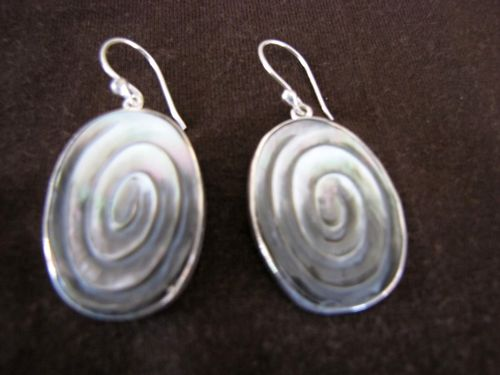 Silver Grey Mother of Pearl Earrings