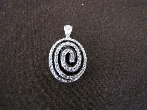 Silver Cubic Zirconia Spiral Pendant