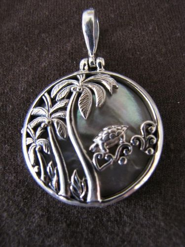Silver Palm Trees and Turtle Pendant