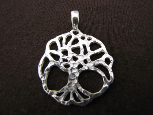 Hammered Silver Tree of Life Pendant