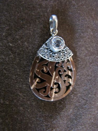 Silver Coconut Wood Pendant