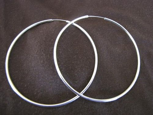 Silver 2mm by 75mm Hoop Earrings