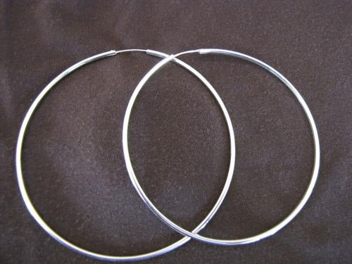 Silver 2mm by 90mm Hoop Earrings