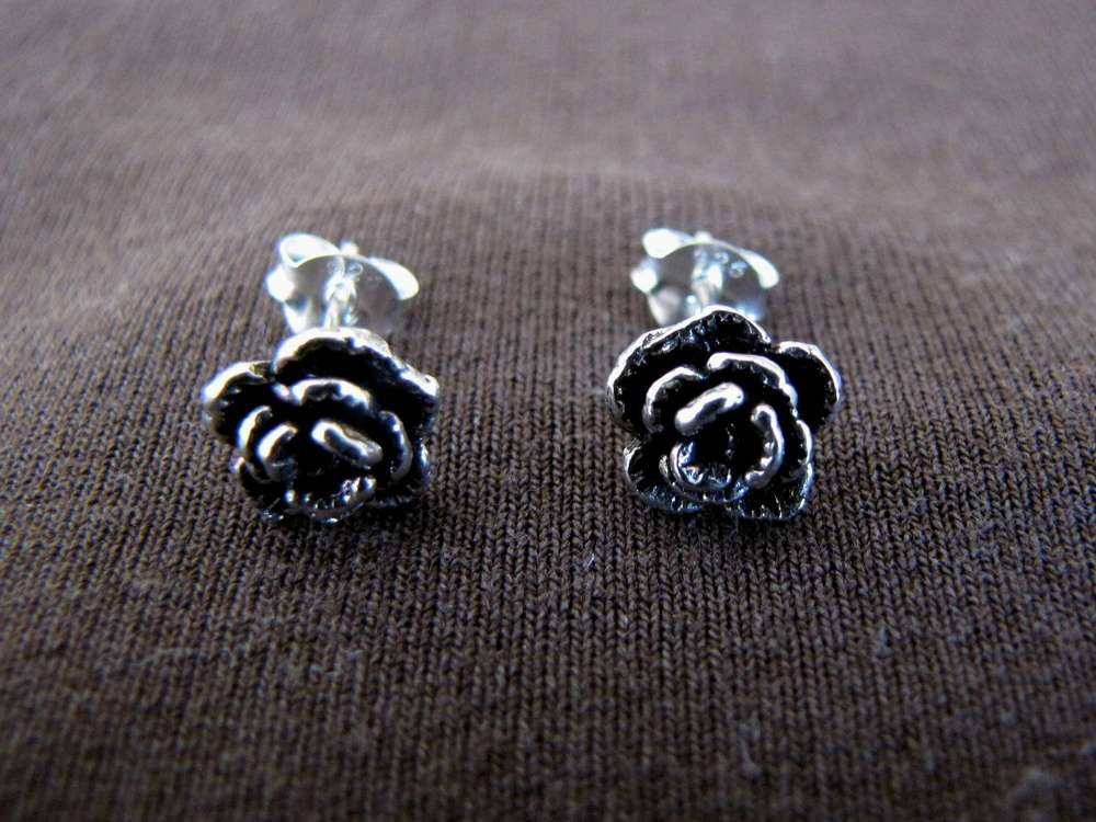 793d75e3c Silver Rose Flower Stud Earrings - Silver Jewellery Sales