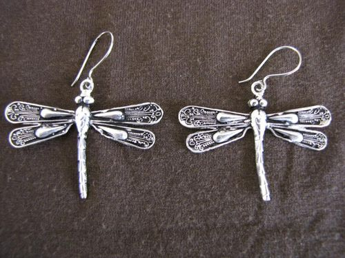 Silver Dragonfly Drop Earrings