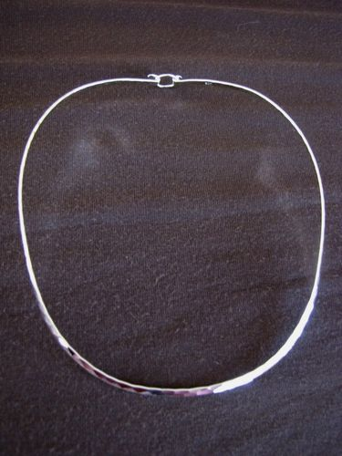 Silver Hammered 3mm Torque Necklace