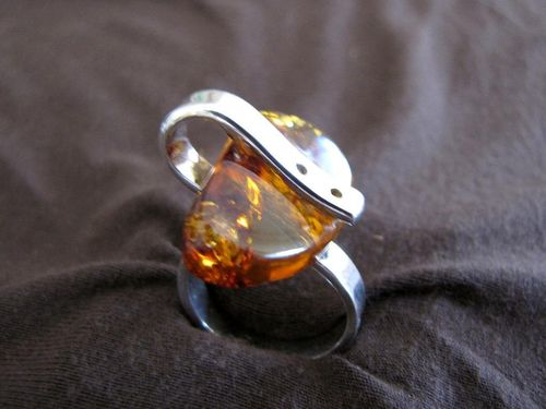 Silver Abstract Baltic Amber Ring