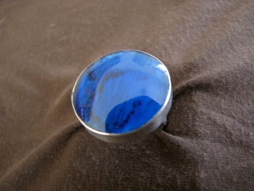 Round Silver Paua Shell Blue Resin Ring