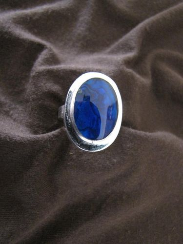 Silver Oval Paua Shell & Blue Resin Ring