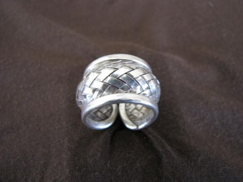 Silver Convex Woven Band Ring