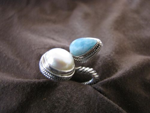 Silver Blue Larimar and Pearl Ring