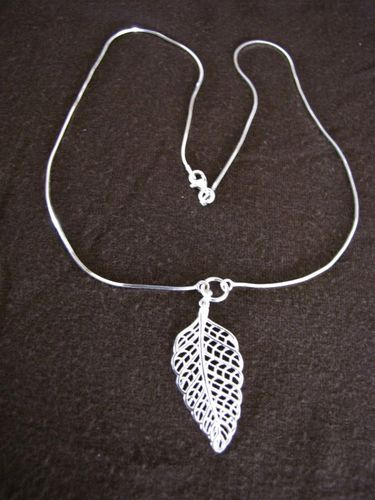 Silver Cut Out Leaf Necklace